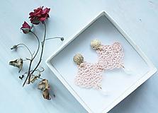 Náušnice - Náušnice s čipkou a perličkou. Svetlá ružová/Marhuľová - 11418228_