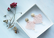 Náušnice - Náušnice s čipkou a perličkou. Staroružové - 11418228_