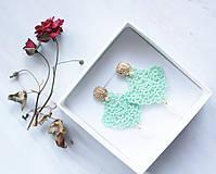 Náušnice - Náušnice s čipkou a perličkou. Mentolové. - 11418229_