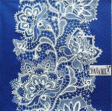 Papier - S1461 - Servítky - folklórny, krajka, modrotlač, čipka - 11419391_