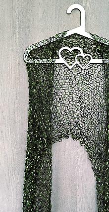 Šály - Déšť přinesl vltavíny - zelený pletený šál - 11419024_