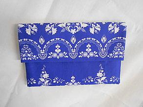 """Kabelky - FLORAL FOLK """" Modrotlač """", spoločenská kabelka (Parížska modrá + biely vzor) - 11418506_"""