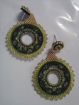 Náušnice - zelený kruh - 11419807_
