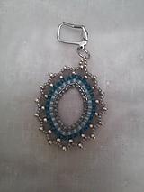 Náušnice - modro sivá - 11419881_
