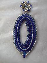 Náušnice - modrý ovál - 11419907_