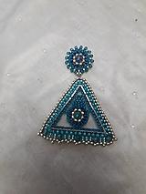 Náušnice - triangel modrý - 11420029_