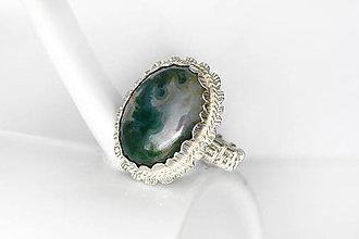 Prstene - lesný prsteň s machovým achátom v.60,5 / Ag 925 - 11419155_