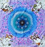 Šatky - Snehuliaci- hodvábna maľovaná šatka - 11418247_