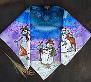 Šatky - Snehuliaci- hodvábna maľovaná šatka - 11418248_
