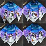 Šatky - Snehuliaci- hodvábna maľovaná šatka - 11418250_