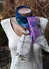 Šatky - Snehuliaci- hodvábna maľovaná šatka - 11418252_