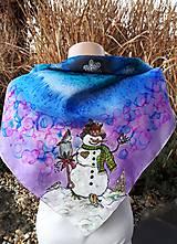 Šatky - Snehuliaci- hodvábna maľovaná šatka - 11418271_