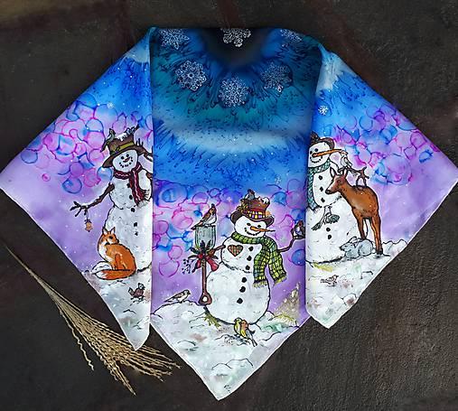 Snehuliaci- hodvábna maľovaná šatka