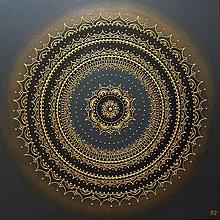 Obrazy - Mandala ÚSPECH A HOJNOSŤ (gold-black) 60 x 60 - 11418402_