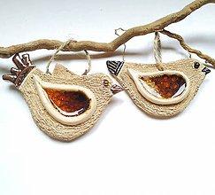Dekorácie - Keramický vtáčik so sklom - 11419426_