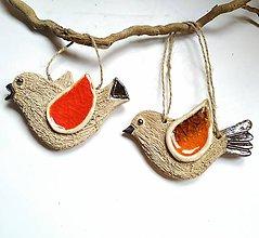 Dekorácie - Keramický vtáčik so sklom - 11419443_