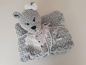 Textil - Háčkovaná deka s medvedíkom - 11419724_