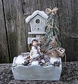 Dekorácie - Zimná dekorácia s anjelikom v kožúšku - 11421330_