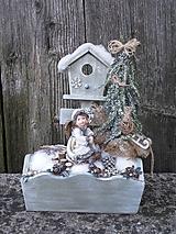 Dekorácie - Zimná dekorácia s anjelikom v kožúšku - 11421335_