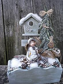 Dekorácie - Zimná dekorácia s anjelikom v kožúšku - 11421331_