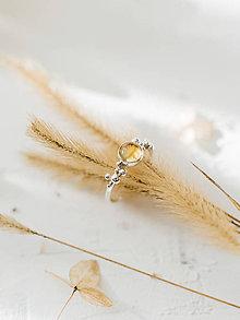 Prstene - Strieborný ligotavý prsteň s citrínom - Bokeh Citri (podľa nositeľky) - 11421344_