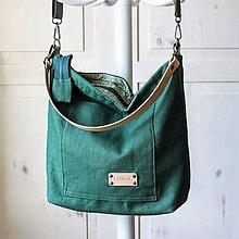 Veľké tašky - Veľká ľanová taška *dark green* - 11420641_