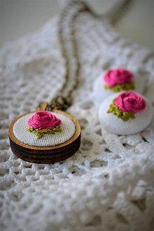 Iné šperky - V ružovej záhrade - set prívesok a náušničky, cyklamén - 11420511_