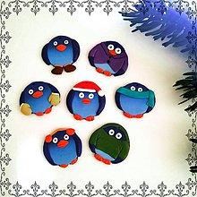 Dekorácie - FIMO vianočné ozdoby na stromček - tučniaci - 11420212_