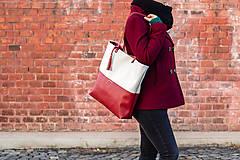 Veľké tašky - Maxi bílo-vínová - 11421724_
