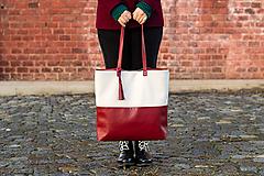 Veľké tašky - Maxi bílo-vínová - 11421726_