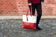Veľké tašky - Maxi bílo-vínová - 11421732_