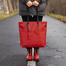 Veľké tašky - Maxi červená s černým vzorem - 11422320_
