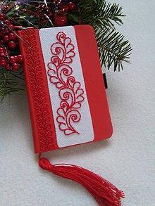 Papiernictvo - Červená s bielou (zápisník ručne vyšívaný) - 11421762_