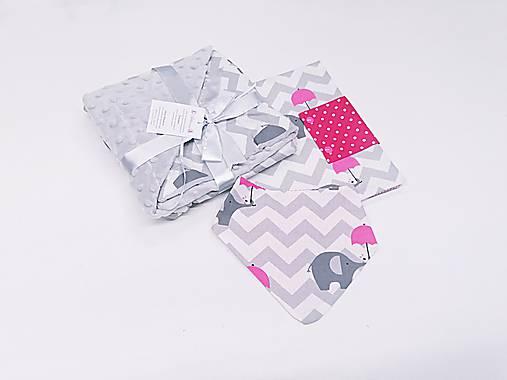 Balíček minky deka + obal na plienky+nákrčník