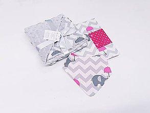 Detské súpravy - Balíček minky deka + obal na plienky+nákrčník - 11421525_