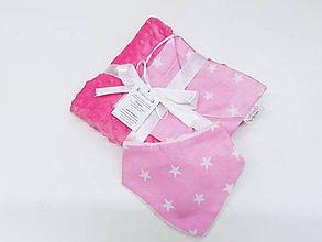 Detské súpravy - Balíček ružová minky deka + nákrčník - 11421553_