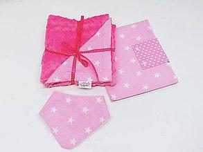 Detské súpravy - Balíček ružová minky deka + obal na plienky+nákrčník - 11421559_