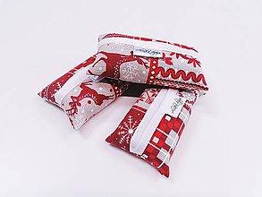 Taštičky - Prenosný obal / zásobník na papierové vreckovky vianočný - 11421565_