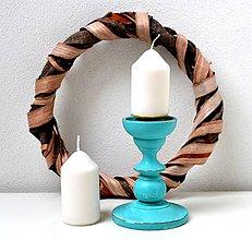Svietidlá a sviečky - Starý tyrkysový svietnik - 11421861_
