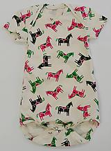 Detské oblečenie - Body biobavlna koníky (9 - 18 mesiacov) - 11421625_