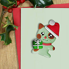 Magnetky - Vianočná mačička - magnetka - 11422591_