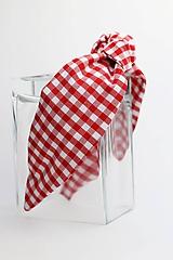Ozdoby do vlasov - Čelenka červeno biela károvaná - 11423835_