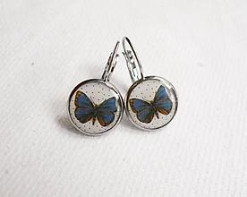 Náušnice - Živicové náušnice - Modrý motýľ (chirur.oceľ) - 11424092_