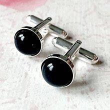 Šperky - Onyx Silver AG925 Cufflinks / Strieborné manžetové gombíky s ónyxom - 11425032_