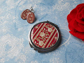 Zrkadielka - Z babičkinej šatky (zrkadielko + náušničky) - 11425219_