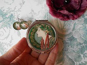 Zrkadielka - Zlatá secesia II. (zrkadielko + náušničky) - 11425321_