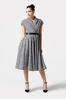 Šaty - Šaty kárované midi s límčekom - 11425933_