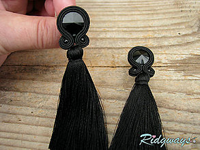 Náušnice - Black - tassel...soutache - 11426302_