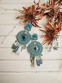 Náušnice - Vintage Blue Earrings- sutaškové náušnice - 11426309_