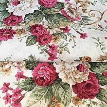 Textil - vínové ruže, pevná zmesová látka, šírka 140 cm - 11426165_